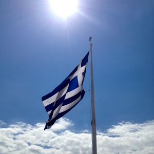 Greek Flag at the Summit of Lycabettus Hill