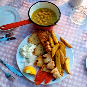 Delicious Chicken Souvlaki & 'Chickpeas in a Clay Pot' from 'Kous-Kous'